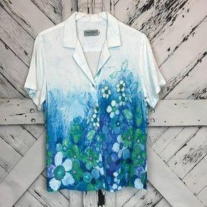 Jams World Sundaisy Blue Floral Print Blouse sz M